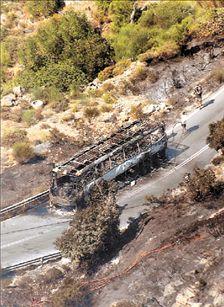 Η φωτιά στην Πεντέλη έφθασε με το λεωφορείο | tovima.gr