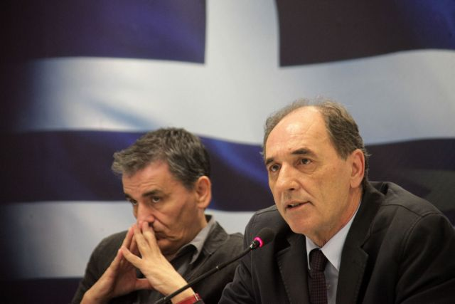 Tsakalotos-Stathakis-Skourletis in talks with the institutions | tovima.gr