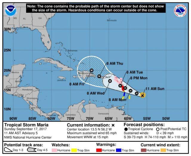 Η Μαρία απειλεί τώρα τα νησιά της Καραϊβικής | tovima.gr