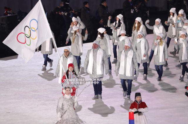 Πιονγκτσάνγκ 2018:Ρώσοι αθλητές συμμετείχαν στην παρέλαση με τη σημαία της ΔΟΕ | tovima.gr