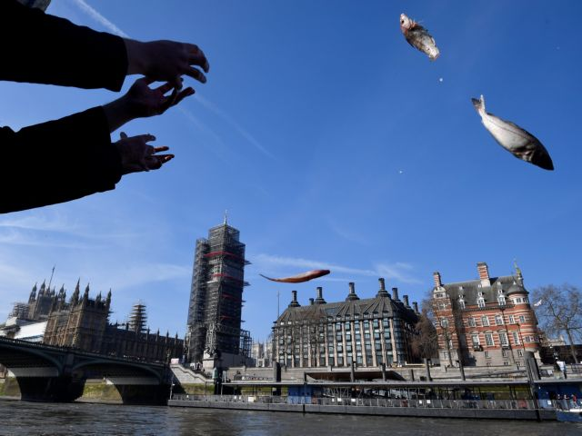 Υποστηριχτές του Brexit πετούν ψάρια στον Τάμεση | tovima.gr
