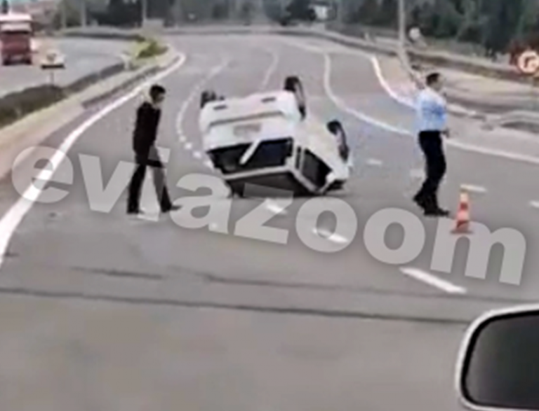 Αθηνών – Λαμίας: Σφοδρή σύγκρουση και ντελαπάρισμα αυτοκινήτου έξω από τη Χαλκίδα | tovima.gr