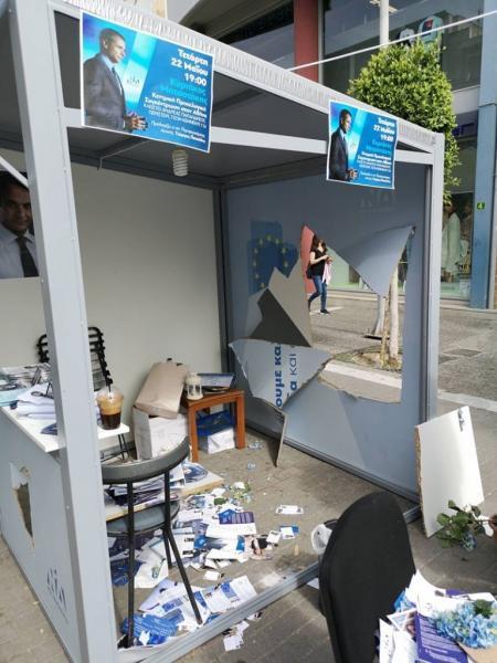 Επίθεση σε εκλογικό περίπτερο της ΝΔ στο Περιστέρι – Εκτεταμένες ζημιές | tovima.gr