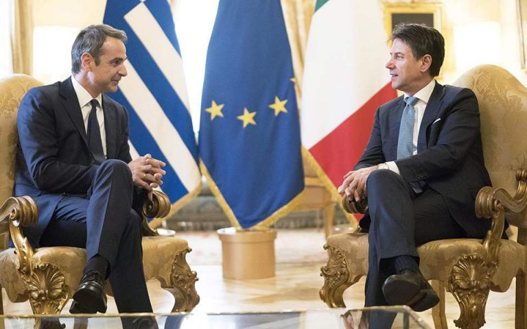 Mitsotakis, Conte discuss the migration crisis, energy cooperation, sign MOU | tovima.gr