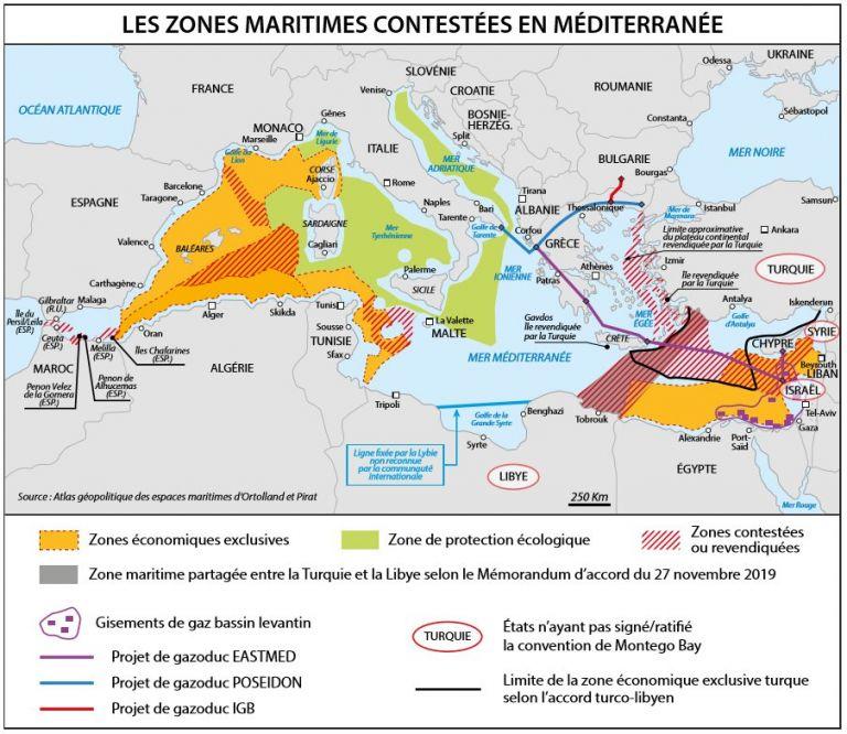 Γαλλικός χάρτης περιλαμβάνει το τουρκολιβυκό Μνημόνιο και «γκριζάρει» το μισό Αιγαίο και ελληνικά νησιά | tovima.gr