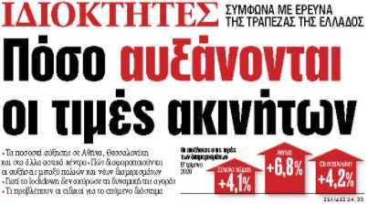Στα «ΝΕΑ» της Παρασκευής: Πόσο αυξάνονται οι τιμές ακινήτων   tovima.gr