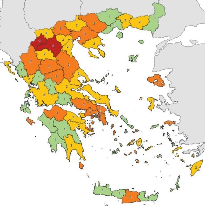 Κορωνοϊός : Τι αλλάζει στο χάρτη υγειονομικής ασφάλειας – Ποιες περιοχές «ανέβηκαν» επίπεδο | tovima.gr