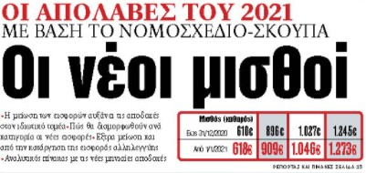 Στα «ΝΕΑ» της Πέμπτης: Οι νέοι μισθοί | tovima.gr