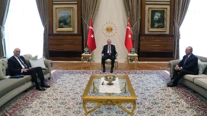 Τουρκία : Ολοκληρώθηκε η συνάντηση του Νίκου Δένδια με τον Ταγίπ Ερντογάν | tovima.gr