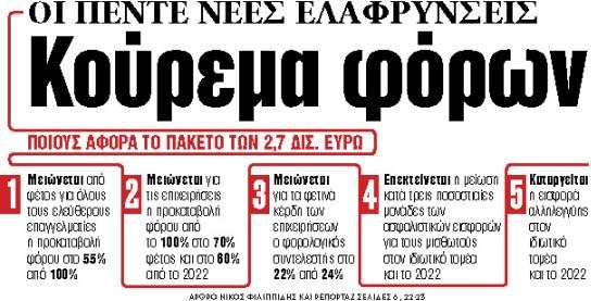 Στα «ΝΕΑ» της Παρασκευής: Κούρεμα φόρων | tovima.gr