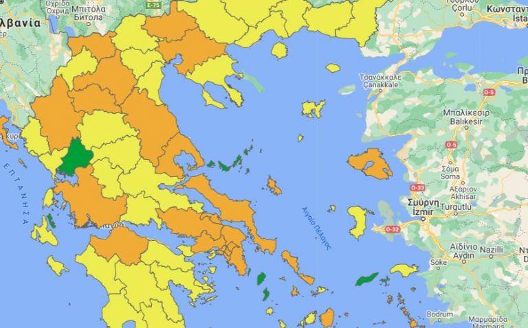 Αυτός είναι ο νέος επιδημιολογικός χάρτης της χώρας – Καμία περιοχή στο κόκκινο | tovima.gr