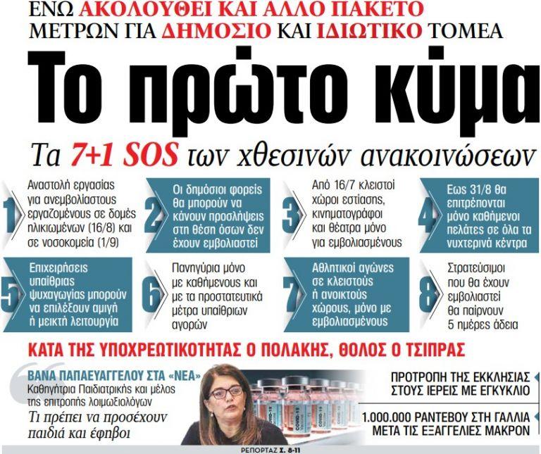 Στα «ΝΕΑ» της Τετάρτης: Το πρώτο κύμα   tovima.gr