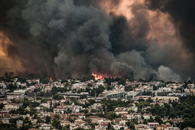 Inferno rages in Varypombi, residents in Thrakomakedones evacuated | tovima.gr