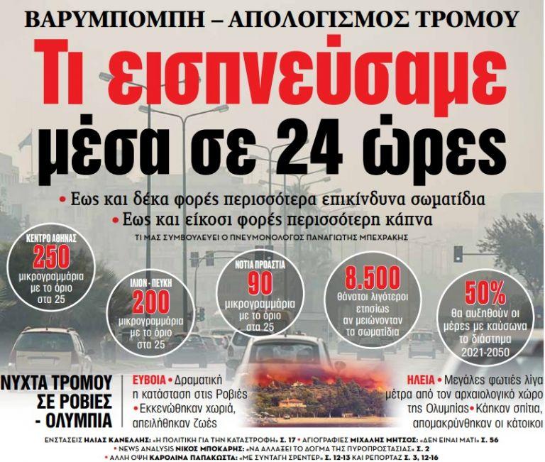 Στα «ΝΕΑ» της Πέμπτης – Τι εισπνεύσαμε μέσα σε 24 ώρες | tovima.gr