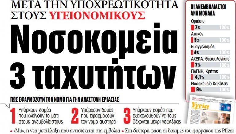 Στα «ΝΕΑ» της Πέμπτης – Νοσοκομεία 3 ταχυτήτων | tovima.gr